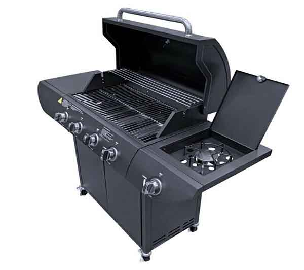 Deluxe Barbecue 4+1 Large Outdoor Gas Black BBQ Grill plus Side Burner Garden plus £100 cash