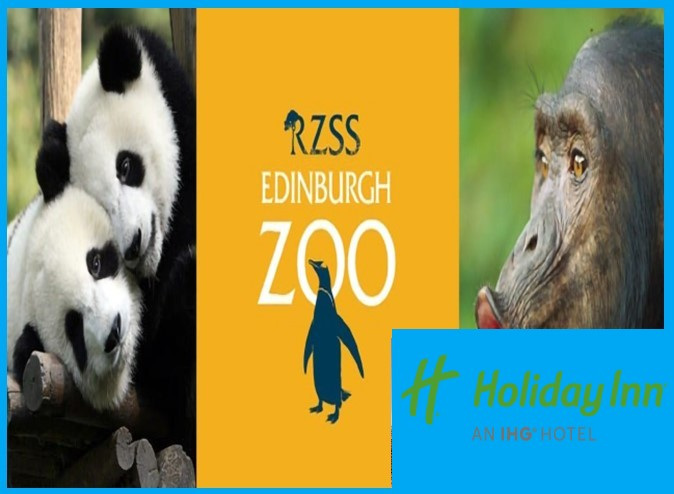 2x adults 2x children full entry into Edinburgh zoo plus overnight stay in holiday inn