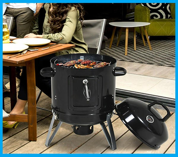Charcoal Smoker Grill and BBQ Smoking with Thermometer - Black