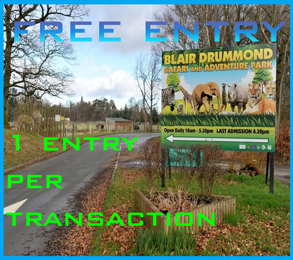 FREE ENTRY Blair Drummond full entry 2x adults and 2x child pass