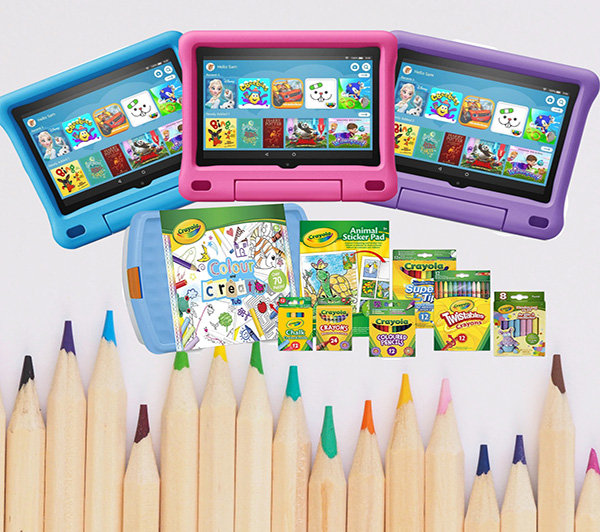 kids fire HD 8 tablet and Crayola tub