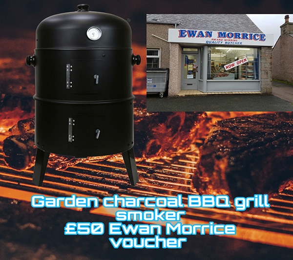3 in 1 Black BBQ Charcoal Grill Barbecue Smoker  with £50 Ewan Morrice voucher