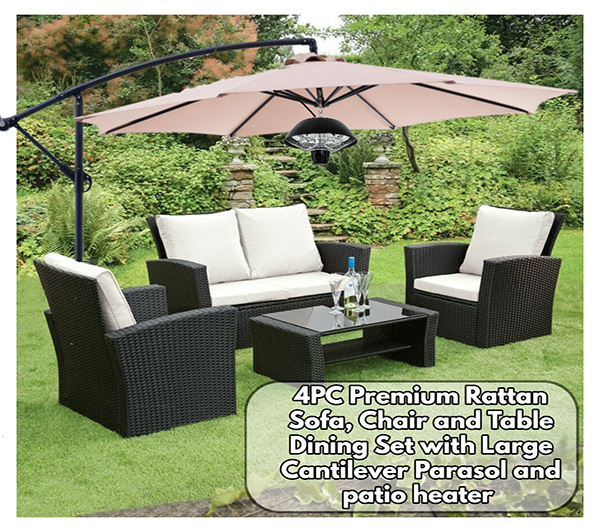 4PC Premium Rattan Sofa, Chair and Table Dining Set with matching large cream parasol and hanging patio heater  bundle